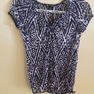 INC NAVY BLUE AND WHITE SHEER SHORT SLEEVE TOP